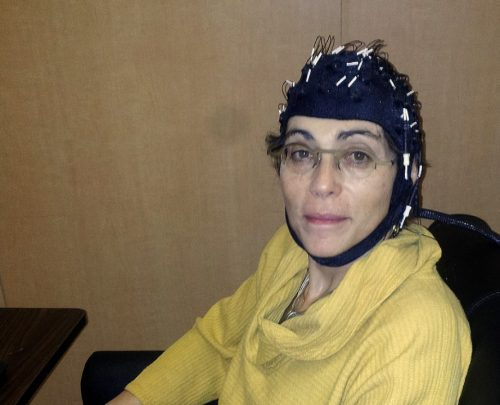 Marlene Behrmann in EEG helmet
